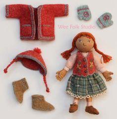 Salley Mavor, Wee Folk Studio Love the embroidered details! Tiny Dolls, Soft Dolls, Porcelain Dolls Value, Little Presents, Crochet Amigurumi, Crochet Dolls, Clothespin Dolls, Little Doll, Waldorf Dolls