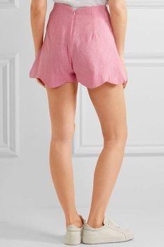 Paper London - Fraise Scalloped Linen Shorts - Baby pink - UK14