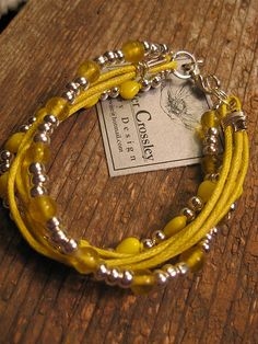 Crossley Design--Beaded leather bracelet. https://www.facebook.com/CrossleyDesign?ref=hl