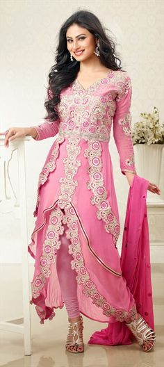 Indian Anarkali Ethnic wear are always the best of fashion. Pink color and Mouni Roy adds a new grace in this Party wear Anarkali Ethnic wear.