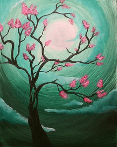 Pink flowering tree and cool minty blue green color swirled sun Beginner painting idea.