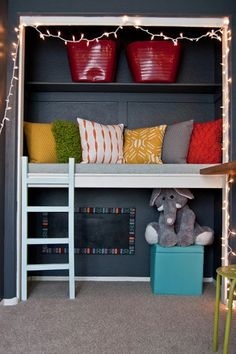 Closet into a reading nook for kids - Playroom Inspiration Reading Nook Closet, Closet Nook, Reading Nook Kids, Bed In Closet, Kid Closet, Closet Bedroom, Girls Bedroom, Closet Ideas, Playroom Closet