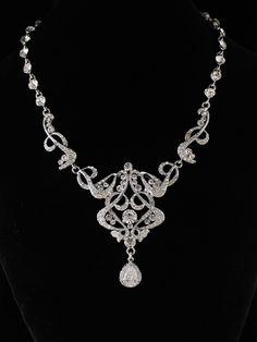 Swarovski Victorian Bridal Necklace,  Wedding Jewelry, Wedding Necklace, Statement Jewelry,Befrosted RINA. $79.00, via Etsy.