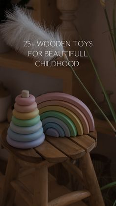 Wooden Rainbow Stacker by HappyTreeStore. Pastel Rainbow Stacker for baby room decoration. Educational Waldorf Toys for baby play. Best Eco Montessori Toys for girl and boy kids Toddler Christmas Gifts, Toddler Gifts, Toddler Toys, Baby Toys, Kids Toys, Baby Room Decor, Nursery Decor, Diy Sensory Board, Busy Boards For Toddlers