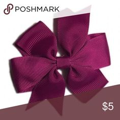 NEW $2 Handmade Plum Hair Bow 3in long & a little shy of 3in wide, alligator clip, great for any ages, bundle as many color as you want for only $2 each. Accessories Hair Accessories