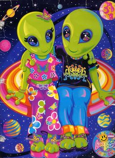 Alien Hippies by Lisa Frank. Ufo, Arte Cholo, Lisa Frank Stickers, Psy Art, Alien Art, 90s Kids, Illustrations, Trippy, Book Design