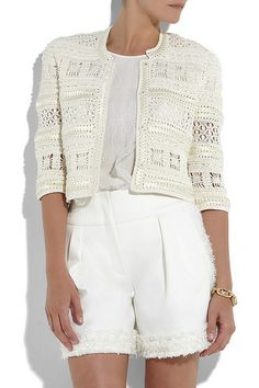 Ivory sheer silk-crochet cropped cardigan with woven ribbon embellishment. Oscar de la Renta cardigan has cropped sleeves, a round neck and concealed push-stud fastenings through front. Gilet Crochet, Crochet Coat, Crochet Motifs, Crochet Jacket, Crochet Cardigan, Love Crochet, Beautiful Crochet, Crochet Clothes, Crochet Patterns