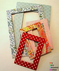 Great idea to recycle cereal and pizza boxes! Colorful photo mats.