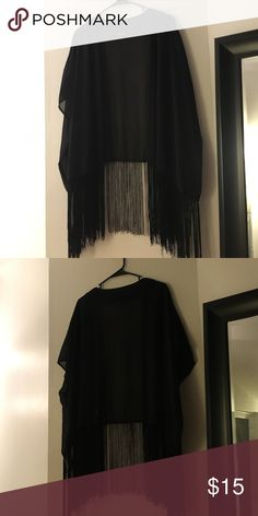Black fringe kimono Bear Dance black fringe kimono, only worn a few times. Purchased at Urban Outfitters for $50. In great condition Urban Outfitters Sweaters Shrugs & Ponchos