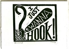 I Just Wanna Hook - hand pulled woodcut card Rug Hooking Patterns, Rug Patterns, Locker Hooking, Rug Inspiration, Hand Hooked Rugs, Penny Rugs, Wool Applique, Punch Needle, Note To Self