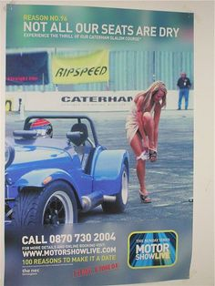 Best ad ever? Caterham seven publicity girl with wet knickers.