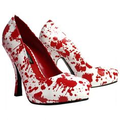 White Patent w/Red Blood Spatter by Pleaser#inked #inkedmag #inkedgirls #redbloodspatter #whiteshoes #heels #halloween