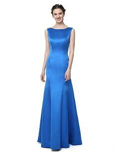 Mermaid / Trumpet Bateau Neck Floor Length Satin Chiffon Bridesmaid Dress with Pleats by LAN TING BRIDE®