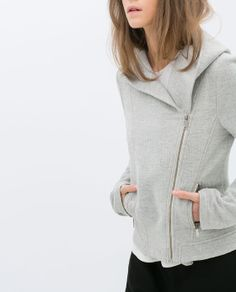 {cotton hooded jacket in gray - ZARA }