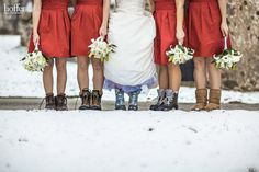 Adorable winter wedding boots- and probably much comfier than heels! Who noticed the blue laces on the bride's boots? What a unique way to add your 'something blue.'