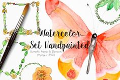 Watercolor set handpainted butterfly Graphics Watercolor set handpainted butterfly Clip Art To decorate your scrapbooking work type, cards, home d by Tuky Waingan