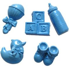 Mold bottles and rattles and booties to create the cutest cakes and cupcakes. Great for christenings and baby showers. This mold has 5 cavities: rattle, blocks, bottle, booties, and duck. You will be amazed at how easy it is to work with these fondant molds, fondant and gum paste comes out easily. Cavity is 1 x 1-3/4 x 1/2 deep. Heat resistant up to 450°F. Use for fondant, gumpaste, chocolate, pastillage and more!