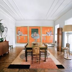 Highly acclaimed French interior designer Jacques Grange was often identified as the most respected and favourited decorator by the late Yves Saint Laurent. Saint Laurent's extremely heighten aesthetic tastes were satisfied by Grange's use of boldness, opulence and often complicated, art centric floor-plans. When founder of successful make-up brand By Terry, Terry de Gunzburg, required interior assistance in her New York City apartment she turned to none other than her close friend Jacques.