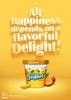 Nestle-Frozen Yogurt by Junaid Younas, via Behance Food Graphic Design, Food Poster Design, Food Design, Chocolates, Yogurt Packaging, Ice Cream Poster, Ice Cream Brands, Gastro, Ads Creative