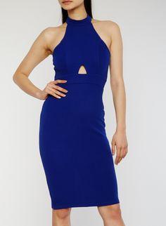 Sleeveless Halter Neck Bandage Dress with Keyhole Details,RYL BLUE,large