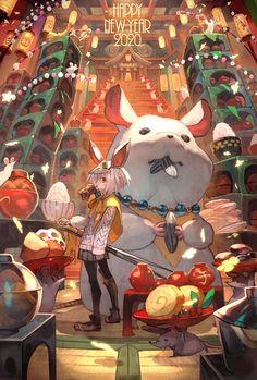 Japanese Designer New Year's Cards of 2020 Vintage Illustration Art, Illustration Art Drawing, Art Drawings, Kawaii, New Year Anime, Arte Cyberpunk, Mermaid Art, Anime Scenery, Totoro