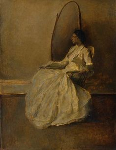"""""""Lady in White (No. 1)"""" by Thomas Wilmer Dewing. c 1910 oil on canvas. In the collection of The Smithsonian American Art Museum, Washington, DC. Gift of John Gellatly."""