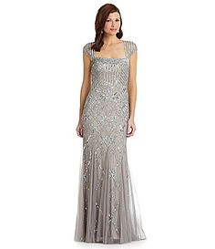Adrianna Papell CapSleeve Bead Dress #Dillards. Mother of the bride. I Love this one, even though it is a long gown. Just beautiful!
