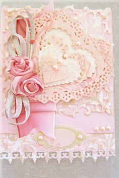 pink heart ..spellbinders dies..QuicKutz nesting doily