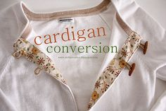 cardigan conversion tutorial - take a pullover sweater and convert it into a buttoned cardigan - from I Am Momma Hear Me Roar - guest post by Delia of Delia Creates