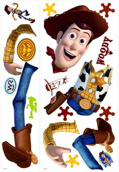 Toy Story 3's favorite cowboy, Woody, is now here in decal form! This giant wall decal is easy to assemble, apply, and reposition on your walls. Every Toy Story fan will love decorating with Woody! Pa
