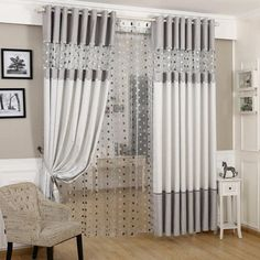 High Quality Luxury Window Curtain Living Room Curtains Grey Item Type: Window Curtains Style: Modern Type: Curtain Technics: Woven Pattern Type: Striped is_customized: Yes Function: Blackout Pattern: Yarn Dyed Opening and Closing Method: [. Balcony Curtains, Living Room Decor Curtains, Home Curtains, Grey Curtains, Living Room Windows, Modern Curtains, Living Room Grey, Window Curtains, Living Room Furniture