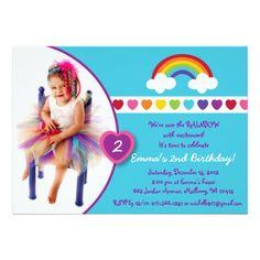 Shop Rainbow Heart Girls Photo Birthday Invitations created by PoshPartyPrints. Rainbow First Birthday, Girl First Birthday, Photo Birthday Invitations, Custom Invitations, Rainbow Heart, Girl Photos, First Birthdays, Special Occasion, Backdrops