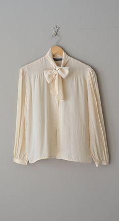 Jacqueline blouse / vintage silk bow blouse / cream by DearGolden