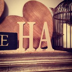 Two Wooden Letters  Freestanding Handpainted  by LoveLettersMe