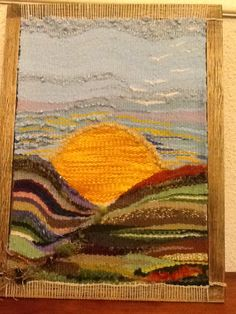 Dos vidas y un sol.- Nair Orihuela Weaving Textiles, Weaving Art, Weaving Patterns, Loom Weaving, Hand Weaving, Woven Wall Hanging, Tapestry Wall Hanging, Tapestry Loom, Landscape Quilts