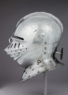 Armet Date: ca. 1510 Culture: Italian Medium: Steel, leather, brass Dimensions: H. 12 1/4 in. (31.1 cm); W. 8 1/2 in. (21.6 cm); D. 12 in. (30.5 cm); Wt. 4 lb. 6 oz. (2900 g) Classification: Helmets