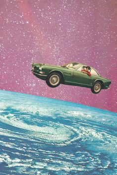 retro outer space skyscape / flying car