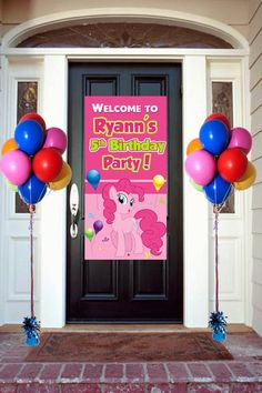 Pinkie Pie Personalized Door Banner 2 feet by 4Feet, My Little Pony Welcome Banner for Party Customizable on Etsy, $22.00