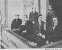 From left to right: Verdi, Puccini,Boito (standing), Mascagni, Leoncavallo (standing) and Giordano