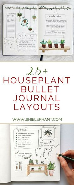 Houseplant-Inspired Bullet Journal Layouts If you are anything like me you are obsessed with house plants and you have way too many—yet not enough… Back in October, I had a houseplant themed bullet journal, and to this day it is still my favorite. Bullet Journal Jardin, Bullet Journal Tracker, Garden Journal, Bullet Journal Ideas Pages, Bullet Journal Spread, Bullet Journal Inspo, My Journal, Journal Pages, Bullet Journals