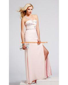 Belle robe glamour rose asymétrique pas cher mousseline robe de soirée 2013
