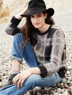 Madewell cloudweight pullover worn with the boyjean + Biltmore® & Madewell fedora.