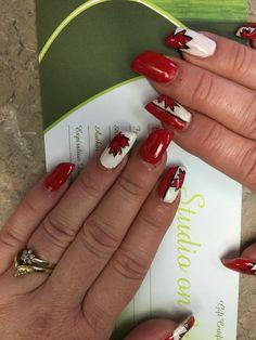 Canada Day gel nails, lipstick shape. Canada Day, Gel Nails, Lipstick, Shapes, Nail Gel, Gel Nail, Lipsticks
