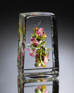 Paul Stankard, Orchid Bouquet Botanical, 5.5 inches in height, 3 inches in width