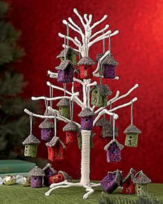Advent Calendar Tree (the birdhouses are felt with embroidered numbers) from Gardener's Supply
