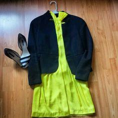 Yellow dress & Black blazer