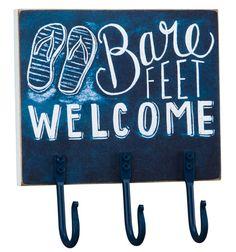 Bare Feet Welcome Chalk Hook Board