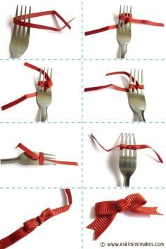 DIY Tutorial DIY BOW / DIY Satin Ribbon Bow with a Fork - Bead&Cord