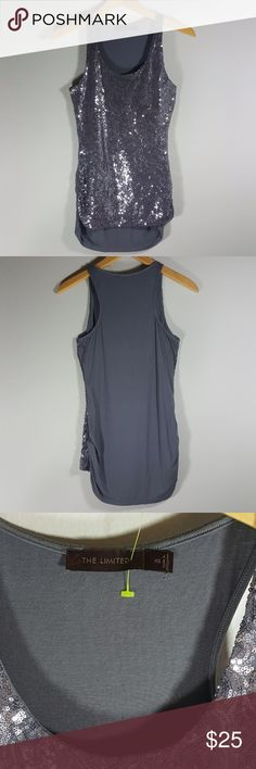 The Limited gray sequin tank top XS The Limited gray sequin tank top  Size XS Condition: EXCELLENT. No sign of stains, tears or flaws.  Measures 13 inches from pit to pit and is 24 inches long front, 27 inches long back. All measurements taken with garment laying flat.  Images represent exactly how product looks like. Ships within 24 hours after purchasing. Feel free to check out the rest of my closet and bundle. The Limited Tops Tank Tops
