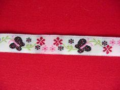 Webband,Borten,Bänder,Polyester,Schmetterlinge, Blumen,1,2 cm,Weiß,Rosa,Rot,Grün